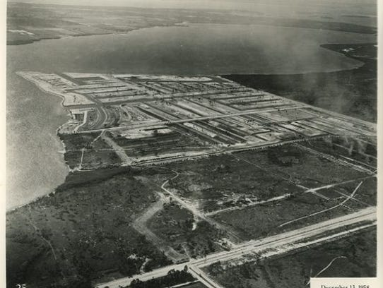 This 1958 aerial photo shows Redfish Point filled and