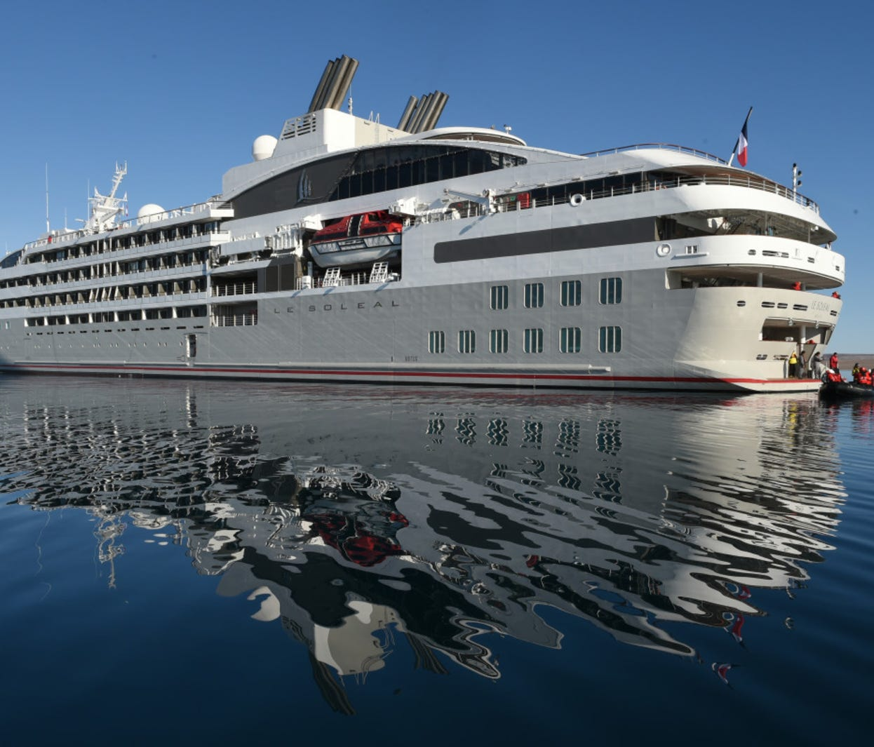 France-based Ponant's 264-passenger Le Soleal was christened in 2013. Six decks high and 466 feet in length, it is one of four nearly identical vessels at the line that debuted between 2010 and 2015.