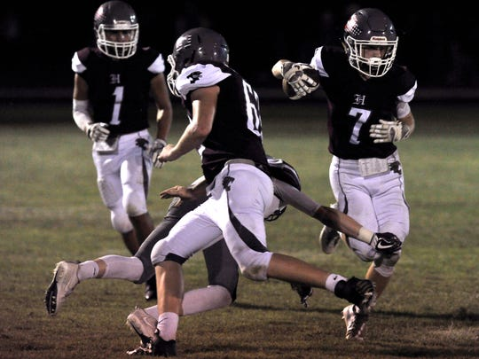Bearcat wide receiver Jayce Hardee runs the ball for Hawley High School during Friday's game against Seymour High School Oct. 6, 2017. Hawley won, 28-0.