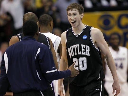 Butler's Gordon Hayward reacts to a Butler basket in