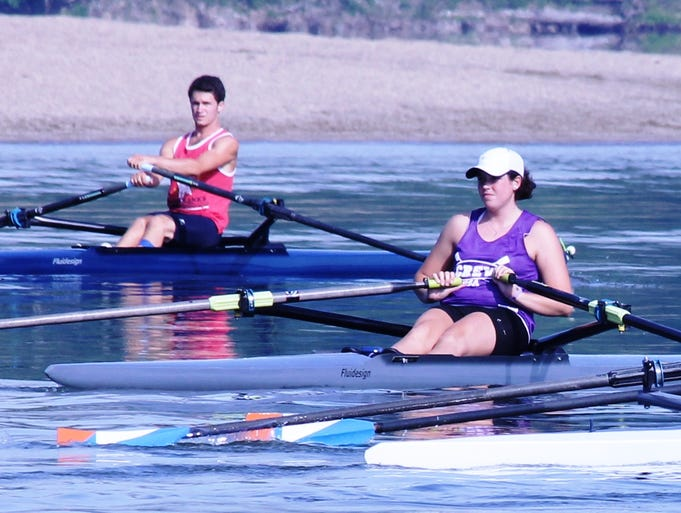 Clermont Crew rowers practice near the beach at Harsha Lake June 26.