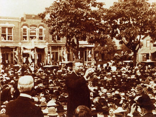 Theodore Roosevelt found himself in the heart of Downtown Noblesville addressing the issues of the day in the early 1900s.