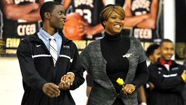 Sharonda Coleman-Singleton and her son Chris at Goose Creek High School, where she taught. Coleman-Singleton was killed Wednesday in a shooting at Emanuel AME Church in Charleston, S.C.
