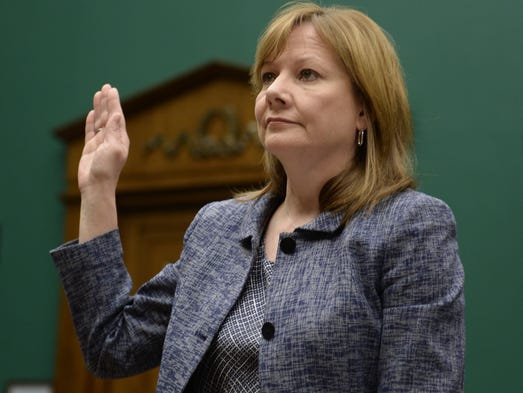 Mary Barra, CEO of General Motors, is sworn in to testify before the House Energy and Commerce subcommittee on Oversight and Investigation on April 1 in Washington. The committee is looking for answers from Barra about safety defects and mishandled recall of 2.6 million small cars with a faulty ignition switch that's been linked to 13 deaths and dozen of crashes. <p><br /></p>