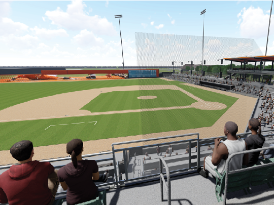 A conceptual drawing of Capital Credit Union Park in Ashwaubenon.