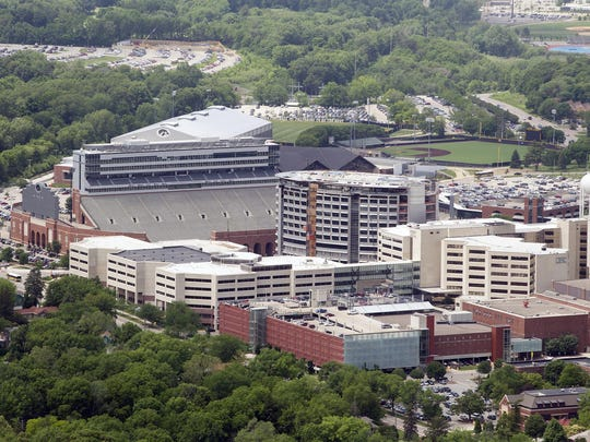 The University of Iowa's west campus, including the