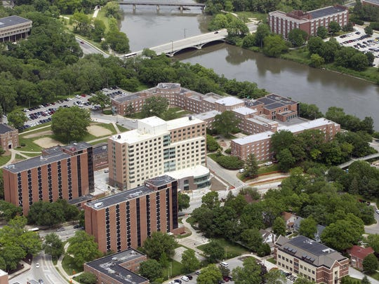 The westside dorms, including the Mary Louise Petersen