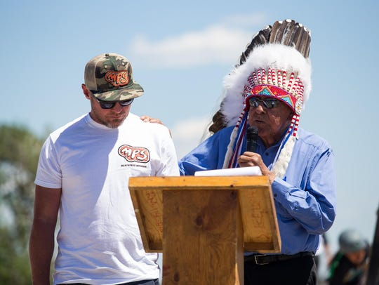 Blackfeet Nation Chief Earl Old Person gives Pearl