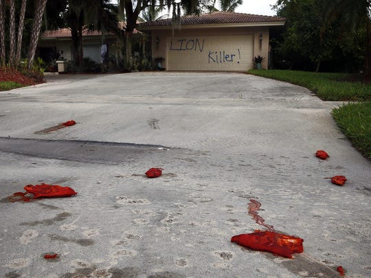 A driveway is shown vandalized Tuesday, Aug. 4, at the Marco Island, Fla., home of dentist Walter J. Palmer.