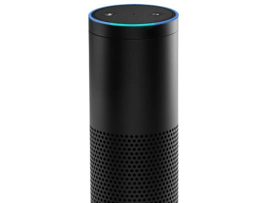 The Amazon Echo, a voice-enabled speaker.