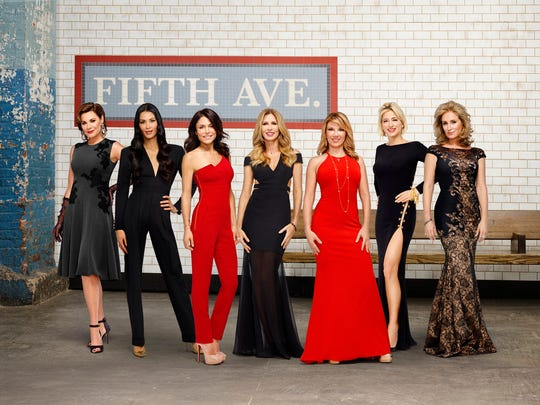 "The cast of ""The REal Housewives of New York City"" season 8; Pictured: (l-r) Luann de Lesseps, Julianne Wainstein, Bethenny Frankel, Carole Radziwill, Ramona Singer, Dorinda Medley, Sonja Morgan."
