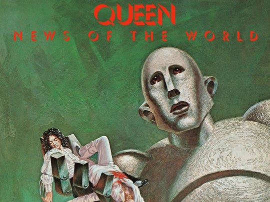 "The cover to Queen's 1977 album ""News of the World."""
