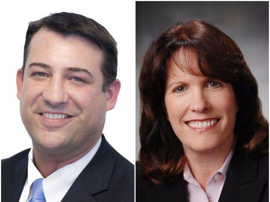 Vanderburgh County Commissioners Ben Shoulders (left) and Cheryl Musgrave