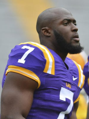 LSU Tigers running back Leonard Fournette (7) waits for the Spring Game to begin April 16.