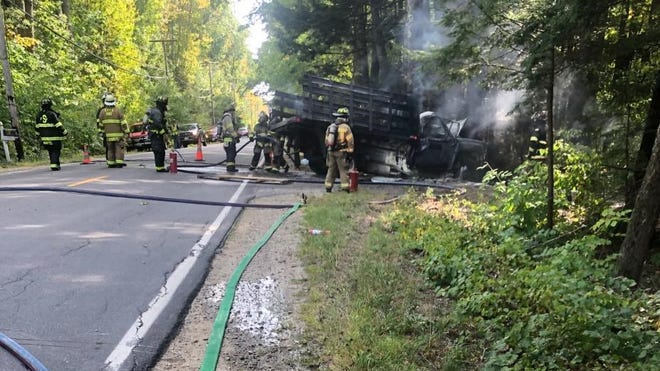 A fiery crash on Log Cabin Road in Arundel, Maine, claimed the lives of Jacob Dupuis and Henry O'Neill on Thursday, Sept. 24, 2020.
