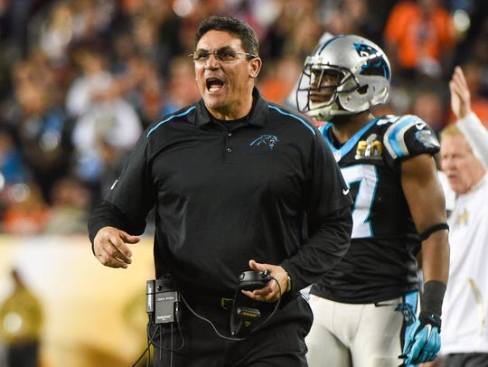 Carolina Panthers head coach Ron Rivera reacts during