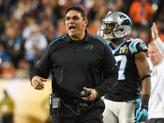 Carolina Panthers head coach Ron Rivera reacts during the third quarter of the game against the Denver Broncos in Super Bowl 50 at Levi's Stadium.