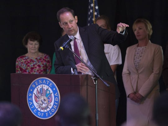 State Sen. Joe Negron conducts a public meeting regarding the toxic Lake Okeechobee discharges, at the Flagler Center in Stuart on Aug. 9, 2016.