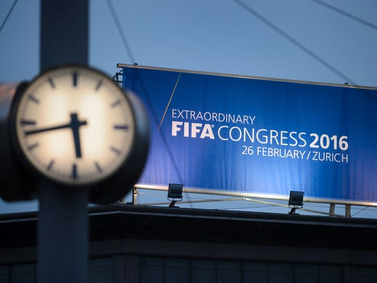 A board advertising the FIFA electoral congress is