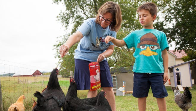 Tamara Funk and her son, Jonah Funk, 8, feed mealworms to their backyard-chickens at their home in Fishersville on Tuesday, Sept. 9, 2014.