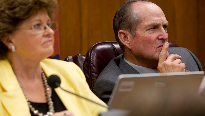 Arizona State Sens. Gail Griffin and Chester Crandell attend a hearing on a bill to provide new religious protections. Opponents fear the bill will make it legal to discriminate against people. The bill passed the Senate committee, but still has to be taken up in the full Senate and the House.