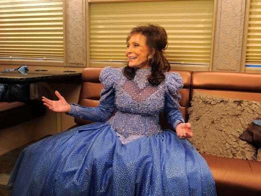 "Loretta Lynn waits on her bus July 5 before she performs her ""Remembering Conway"" concert at her Hurricane Mills ranch. She also was talking about her ranch's gospel festival, her memories of Conway Twitty and her upcoming two nights at The Ryman."