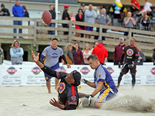 Pros vs Heroes flag football at the Jersey Shore Festival