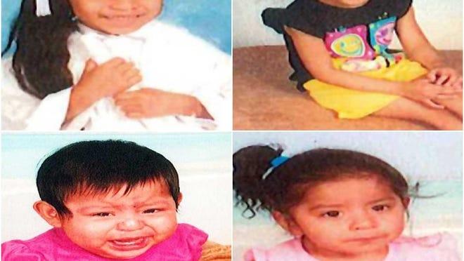 Clockwise from top left: 6-year-old Kimberly Elizabeth Gomez-Coronado; 5-year-old Jackelyn Belinda Gomez-Coronada; 1-year-old Mendy Coria-Coronado and 2-year-old Evelin Fernanda Coria-Coronado.