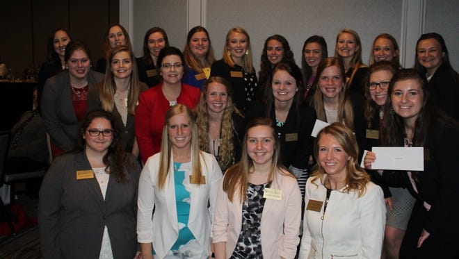 The Association of Women in Agriculture Alumni awarded scholarships to the following students: Womenscholarship winners. The people in the picture are: (back row from left) Elizabeth Sarbacker, Noelle Austin, Stephanie Thiel, Molly Hendrickson, Emma Olstad, Kate Vickerman, Rebecca Shilts, Jessica Wendt, Amber Dammen and Ciera Ballmer. Middle row (from left) Brooke Trustem, Julia Oelke, Maddy Selner, Brooke Moore, Riley Miler, Rachel Tries, Rachel Gerbitz and Stephanie Hoff. Front row (from left) Keisha Verbeten, Emily Franke, Summer Henschel and Emily Matzke.
