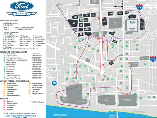 Map of where to park at Ford Field for the beatification