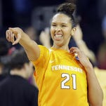 Tennessee center Mercedes Russell reacts to fans after the Lady Vols beat Ohio State 78-62 in the NCAA Tournament Sioux Falls Regional semifinal on Friday night. Russell scored 25 points.