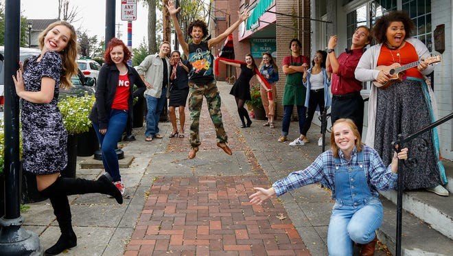 """Anderson High School's production of """"Godspell"""" will be set in the middle of downtown Cincinnati. Cast members are Sophia Lee, Audrey Button, Austin Bally, Megan Goodlett, Nathan Goodlett, Alexis Zoglio,  Paige Resor,  Adam Radcliffe,  Kertu Bell,  Ian Baker, Jadyn Riggs, and (kneeling)  Corinne Baumann."""