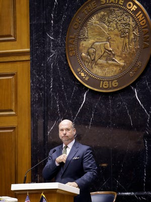 Speaker of the House Brian Bosma, R-Indianapolis, addresses the chamber on April 29, 2015, the final day of the year's legislative session at the Statehouse in Indianapolis.