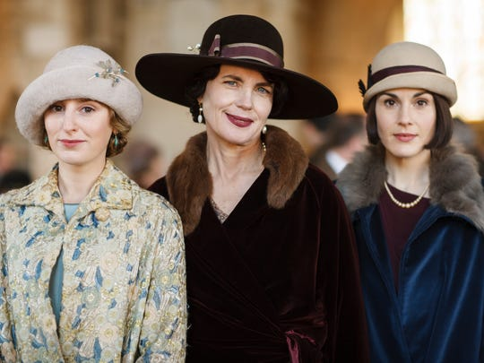 The Crawley women (played by Laura Carmichael, left, Elizabeth McGovern and Michelle Dockery are back in the final season of PBS's 'Downton Abbey' on Sunday.
