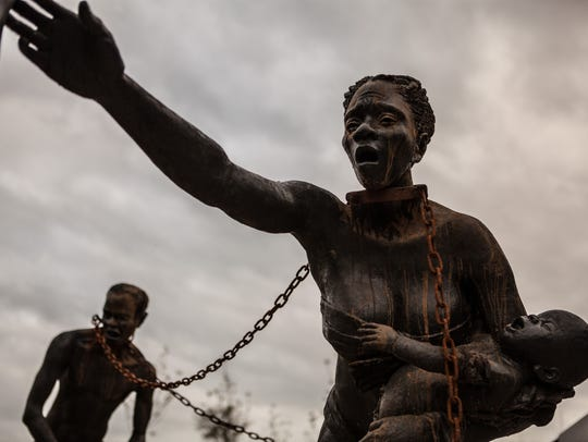 "The National Memorial for Peace and Justice, which opened April 26 in Montgomery, includes a sculpture depicting those who were enslaved. ""The first thing they will see is a sculpture on slavery,"" EJI director Bryan Stevenson said of visitors to the memorial. ""We don't have visuals in this country that give people a perspective on the brutality on slavery. That will be a challenge for people."""