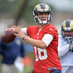 Los Angeles Rams quarterback Jared Goff throws a pass at organized team activities.