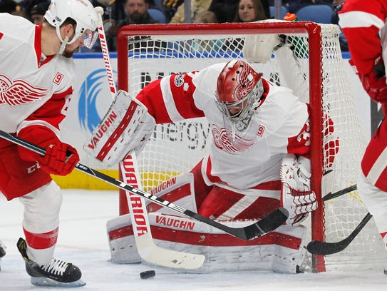 Red Wings goalie Petr Mrazek makes a save during the