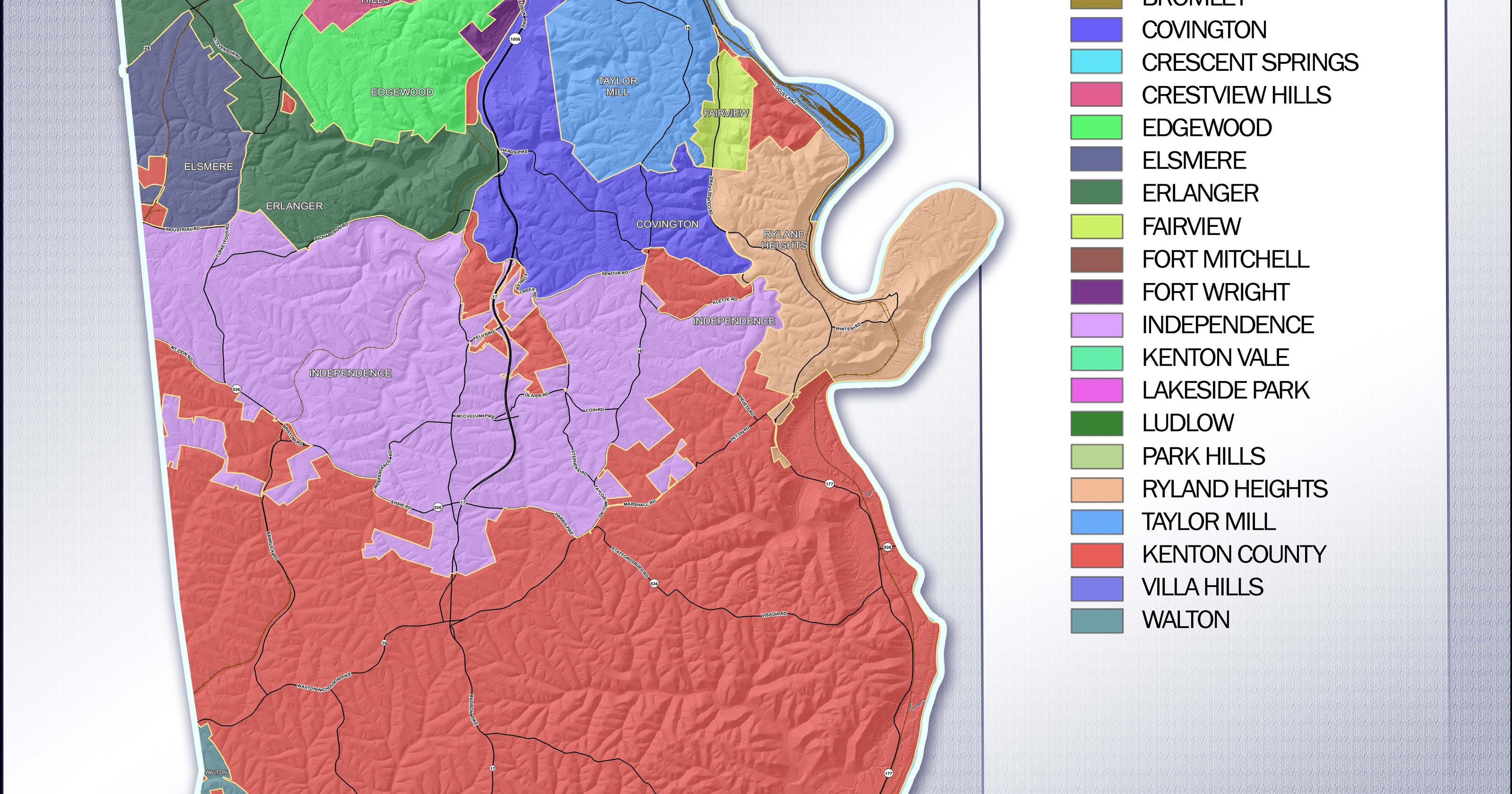 Kentucky State Map With Cities And Counties.Kentucky Redistricting Changed Kenton County S Voting Districts