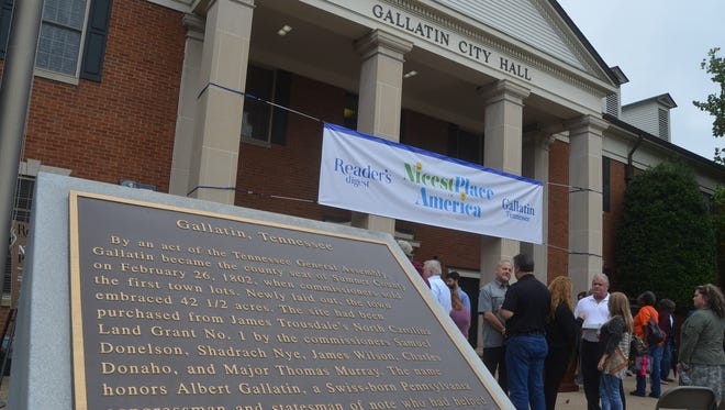 "Gallatin celebrated its title of Nicest Place in America with members of ""Reader's Digest"" Oct. 11 in Gallatin."