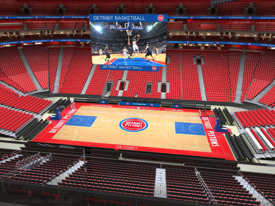 A virtual view of inside Little Caesars Arena from