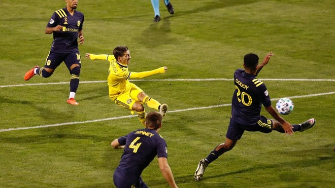 Columbus Crew SC midfielder Pedro Santos scores the game-winner against Nashville SC in the 50th minute of Saturday's match at Mapfre Stadium on Sept. 19, 2020.