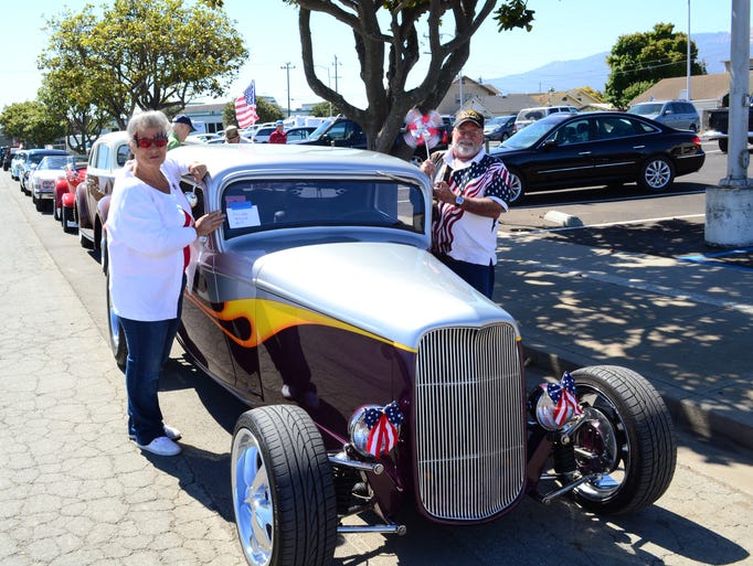 John and Colleen Corbett, next to their 1932 Ford Coupe, getting ready to participate in the Spreckels 4th of July Parade on Friday.
