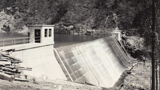 A 1926 photo of the Staunton dam in the George Washington and Jefferson National Forest, which provides the water supply to the City of Staunton. The 50-foot high dam was built between 1923 and 1926 and creates a 21-acre lake with 108 million gallons of water.