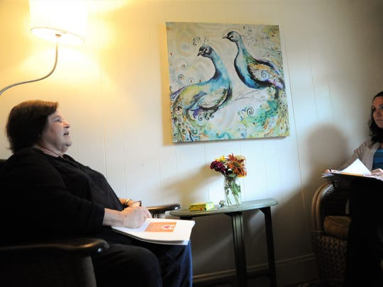 Dee Dimling, left, sits with Valerie Holbert recently