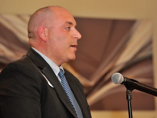 Mahwah Councilman David May speaks during the meet the candidates meeting last month.