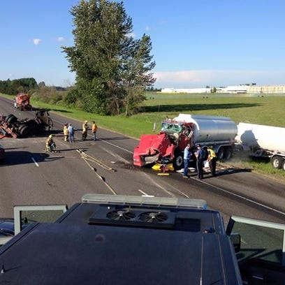 A crash on Interstate 5 just north of Keizer.