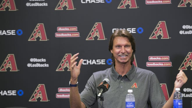 Former Diamondbacks' pitcher Randy Johnson talks about his upcoming induction into the Hall of Fame at Chase Field in Phoenix on Friday, July 17, 2015.
