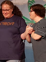 """Margaret Edwartowski (left) and """"Detroiters"""" writer Nancy Hayden of the two-woman improv team Bottle of Red."""