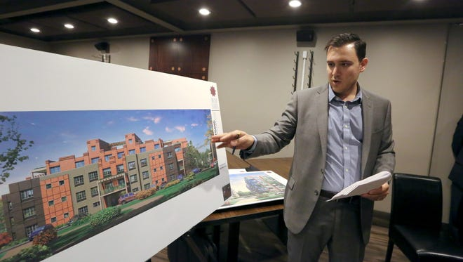 Architect Ariel Aufgang talks about a proposed 600-unit housing complex at the site of the former drive-in movie theater in Monsey.