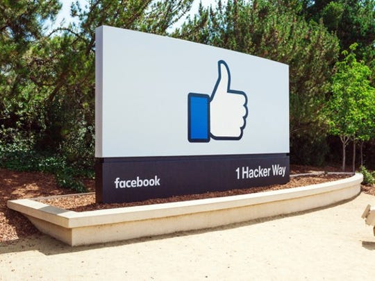 "The ""like"" symbol at the entrance to Facebook HQ"